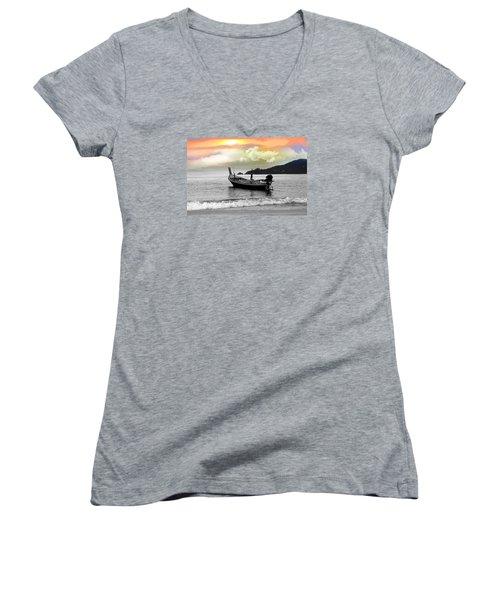 Patong Beach Women's V-Neck T-Shirt (Junior Cut) by Mark Ashkenazi