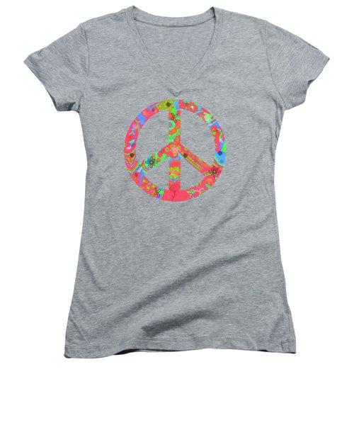 Peace Women's V-Neck T-Shirt (Junior Cut) by Linda Lees