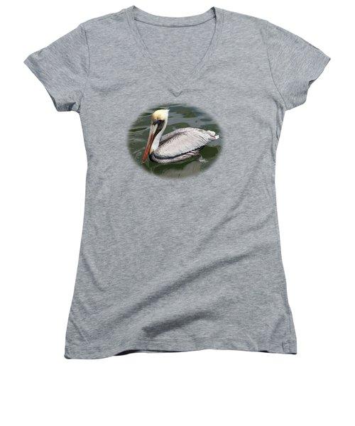 Pelican 3 Vignette Women's V-Neck T-Shirt (Junior Cut) by Bob Slitzan