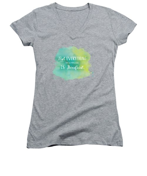 Permissible Women's V-Neck T-Shirt (Junior Cut) by Nancy Ingersoll