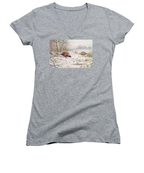 Pheasant And Partridge Eating  Women's V-Neck T-Shirt (Junior Cut) by Carl Donner