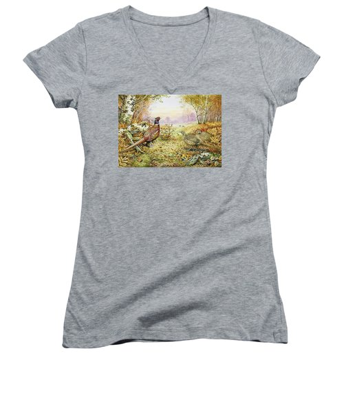 Pheasants In Woodland Women's V-Neck T-Shirt (Junior Cut) by Carl Donner