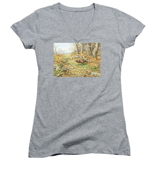 Pheasants With Blue Tits Women's V-Neck T-Shirt (Junior Cut) by Carl Donner