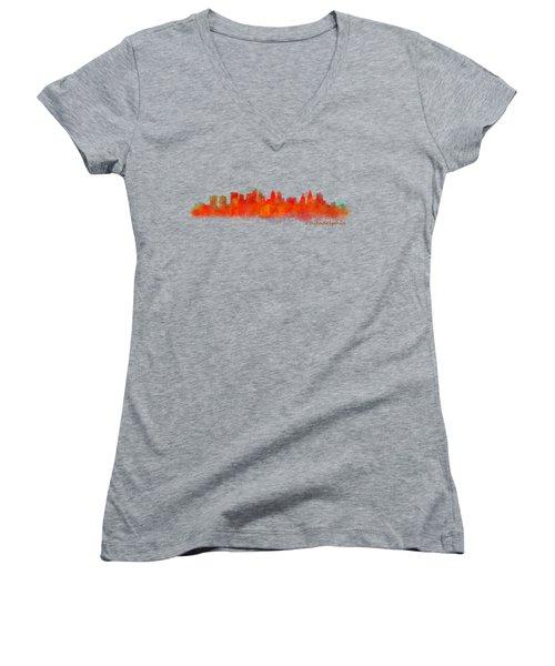 Philadelphia City Skyline Hq V2 Women's V-Neck T-Shirt (Junior Cut) by HQ Photo