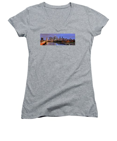 Philadelphia Philly Skyline At Dusk From Near South Color Panorama Women's V-Neck T-Shirt (Junior Cut) by Jon Holiday