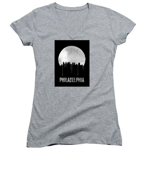 Philadelphia Skyline Black Women's V-Neck T-Shirt (Junior Cut) by Naxart Studio