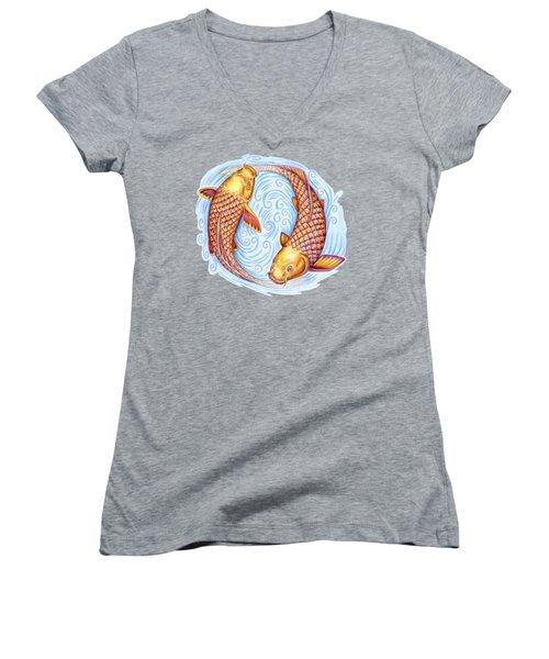 Pisces Women's V-Neck T-Shirt (Junior Cut) by Rebecca Wang