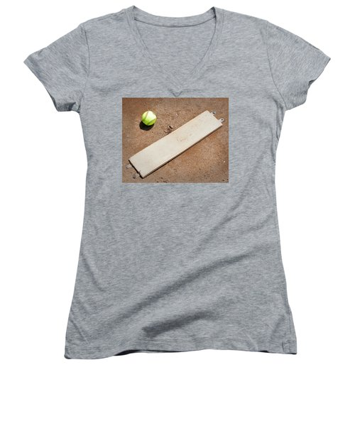 Pitchers Mound Women's V-Neck T-Shirt (Junior Cut) by Kelley King