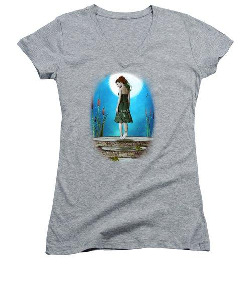 Pond Of Dreams Women's V-Neck T-Shirt (Junior Cut) by Brandy Thomas
