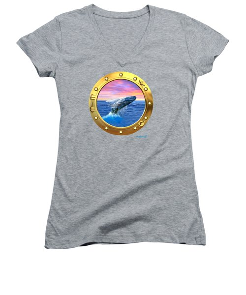Porthole View Of Breaching Whale Women's V-Neck T-Shirt (Junior Cut) by Glenn Holbrook