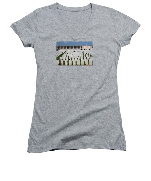 Women's V-Neck T-Shirt (Junior Cut) featuring the photograph Pozieres British Cemetery by Travel Pics