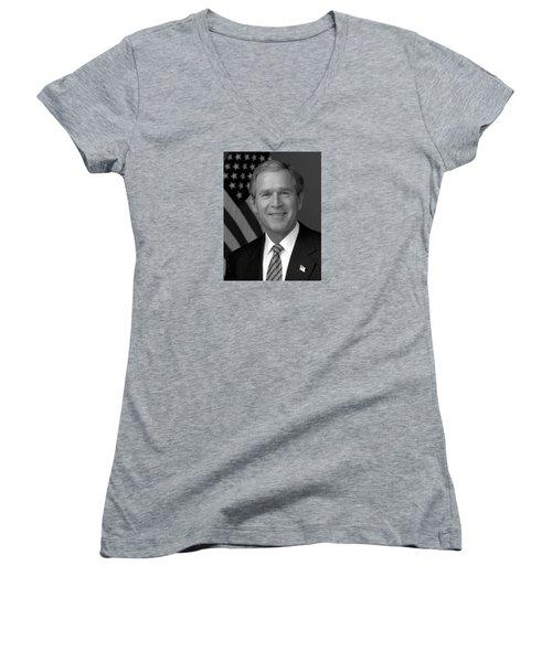 President George W. Bush Women's V-Neck T-Shirt (Junior Cut) by War Is Hell Store