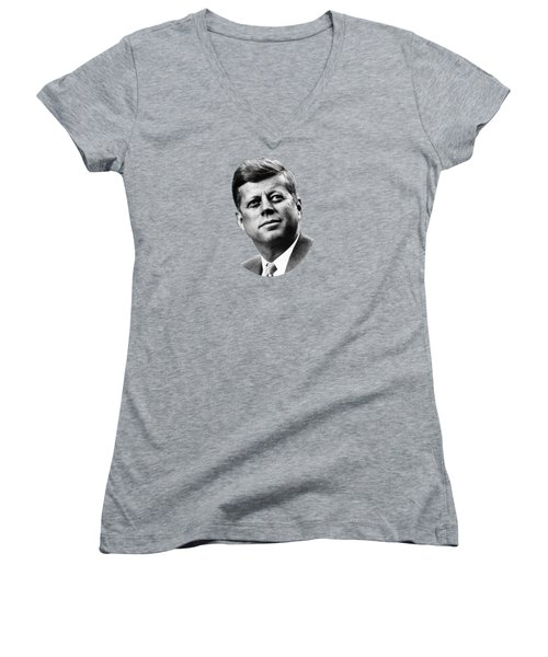 President Kennedy Women's V-Neck T-Shirt (Junior Cut) by War Is Hell Store