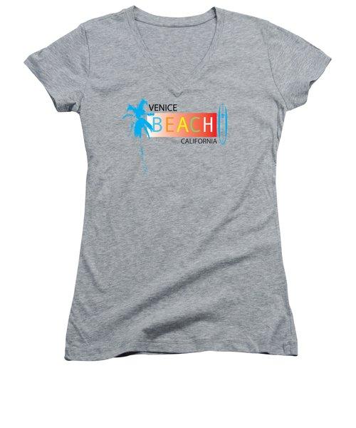 Venice Beach California T-shirts And More Women's V-Neck T-Shirt (Junior Cut) by K D Graves