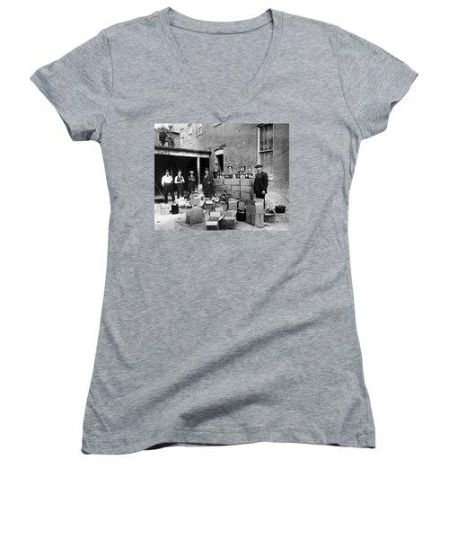 Prohibition, 1922 Women's V-Neck T-Shirt (Junior Cut) by Granger