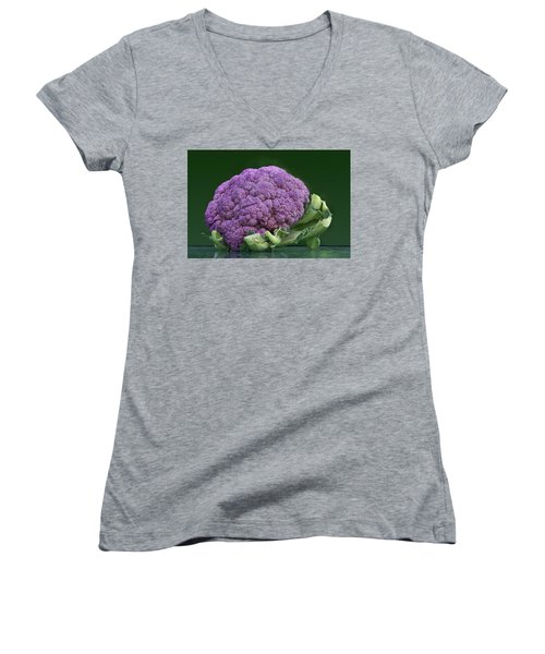 Purple Cauliflower Women's V-Neck T-Shirt (Junior Cut) by Nikolyn McDonald