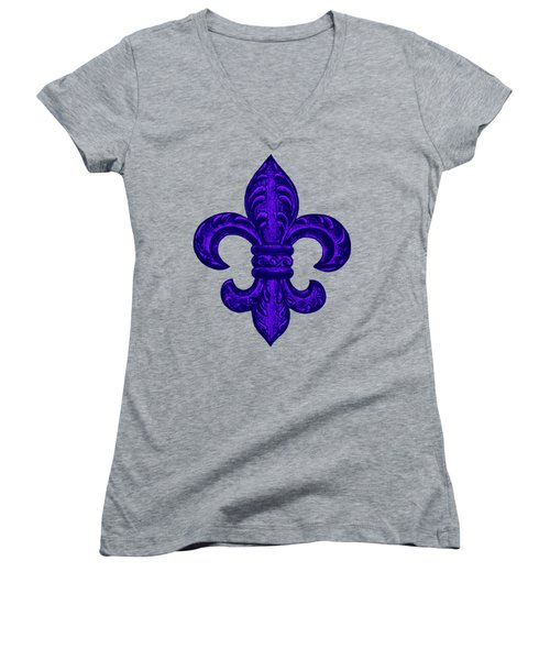 Purple French Fleur De Lys, Floral Swirls Women's V-Neck T-Shirt (Junior Cut) by Tina Lavoie