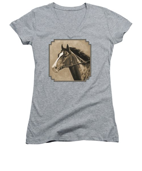 Racehorse Painting In Sepia Women's V-Neck T-Shirt (Junior Cut) by Crista Forest