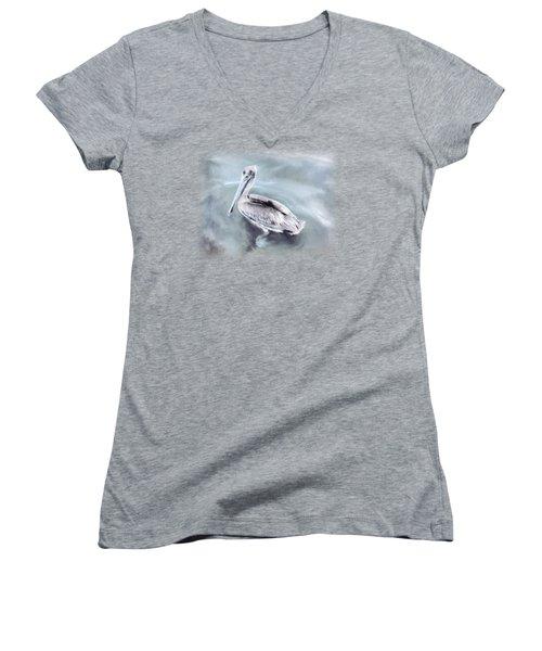 Radiant Pelican Women's V-Neck T-Shirt (Junior Cut) by Korrine Holt
