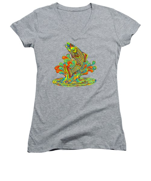 Rainbow Trout Women's V-Neck T-Shirt (Junior Cut) by Rebecca Wang