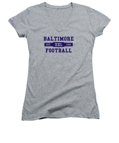 Ravens Retro Shirt Women's V-Neck T-Shirt (Junior Cut) by Joe Hamilton