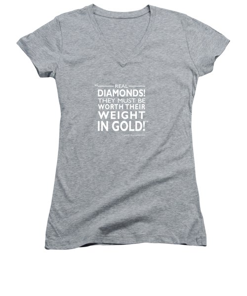 Real Diamonds Women's V-Neck T-Shirt (Junior Cut) by Mark Rogan