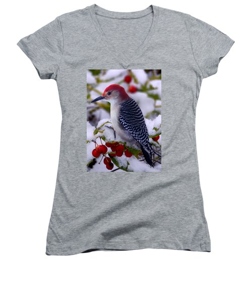 Red Bellied Woodpecker Women's V-Neck T-Shirt (Junior Cut) by Ron Jones