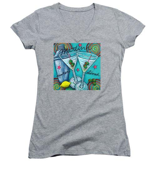 Retro Martini Women's V-Neck T-Shirt (Junior Cut) by Lisa  Lorenz