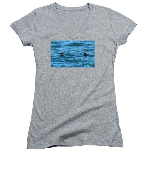 Rhinoceros Auklet Women's V-Neck T-Shirt (Junior Cut) by Linda Kerkau