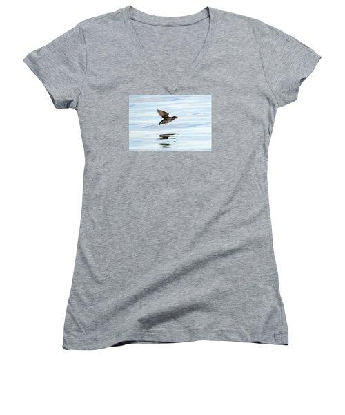 Rhinoceros Auklet Reflection Women's V-Neck T-Shirt (Junior Cut) by Mike Dawson