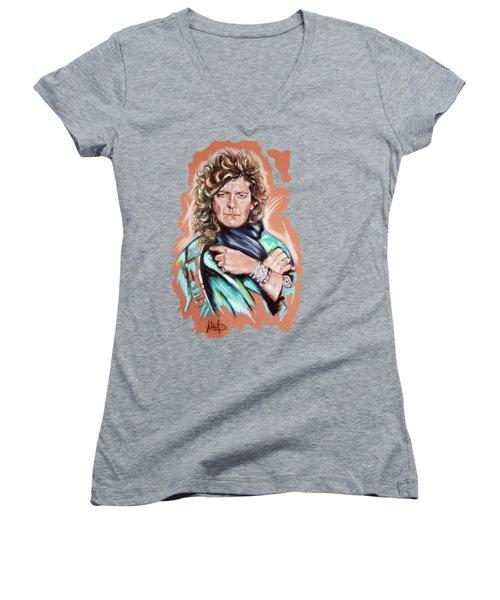 Robert Plant Women's V-Neck T-Shirt (Junior Cut) by Melanie D