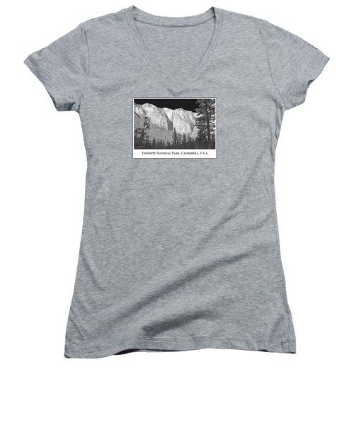 Women's V-Neck T-Shirt (Junior Cut) featuring the photograph Rock Formation Yosemite National Park California by A Gurmankin