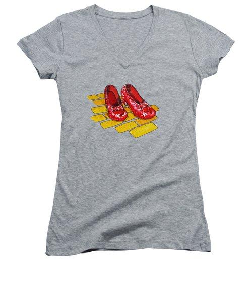 Ruby Slippers Wizard Of Oz Women's V-Neck T-Shirt (Junior Cut) by Irina Sztukowski