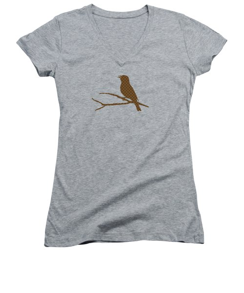 Rustic Brown Bird Silhouette Women's V-Neck T-Shirt (Junior Cut) by Christina Rollo