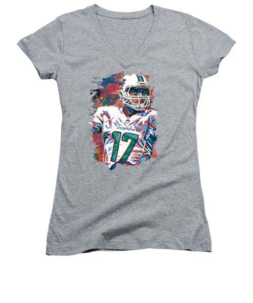 Ryan Tannehill Women's V-Neck T-Shirt (Junior Cut) by Maria Arango