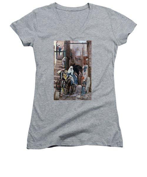 Saint Joseph Seeks Lodging In Bethlehem Women's V-Neck T-Shirt (Junior Cut) by Tissot