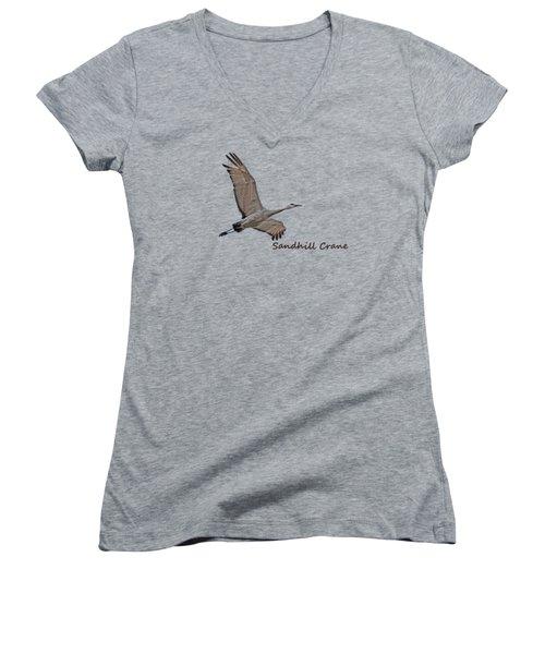Sandhill Crane In Flight Women's V-Neck T-Shirt (Junior Cut) by Whispering Peaks Photography