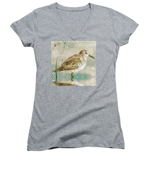 Sandpiper I Women's V-Neck T-Shirt (Junior Cut) by Mindy Sommers