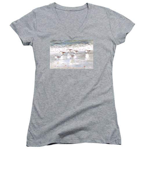 Sandpipers On Siesta Key Women's V-Neck T-Shirt (Junior Cut) by Shawn McLoughlin