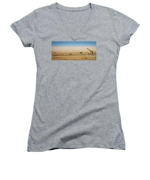 Savanna Life Women's V-Neck T-Shirt (Junior Cut) by Inge Johnsson