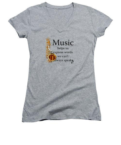 Saxophones Express Words Women's V-Neck T-Shirt (Junior Cut) by M K  Miller