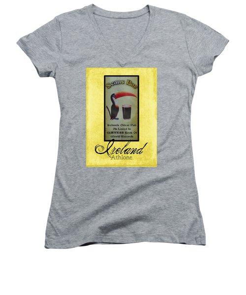 Seans Bar Guinness Pub Sign Athlone Ireland Women's V-Neck T-Shirt (Junior Cut) by Teresa Mucha