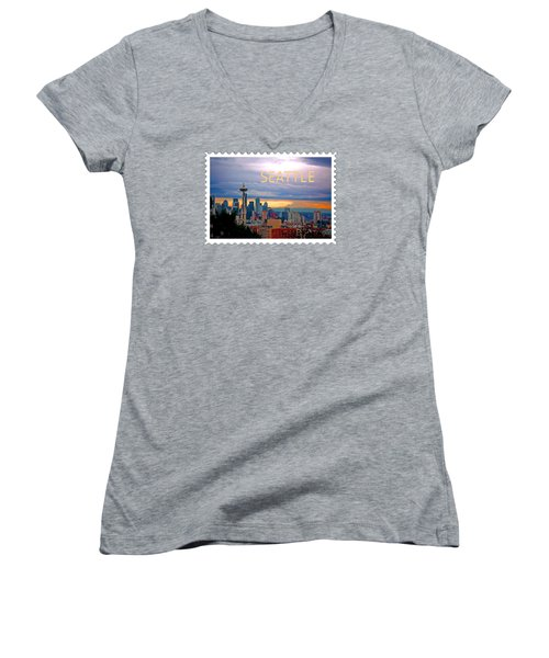 Seattle At Sunset Text Seattle Women's V-Neck T-Shirt (Junior Cut) by Elaine Plesser