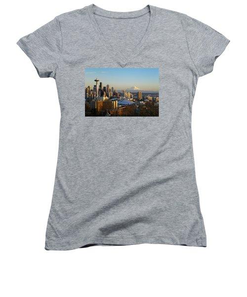 Seattle Cityscape Women's V-Neck T-Shirt (Junior Cut) by Greg Vaughn - Printscapes