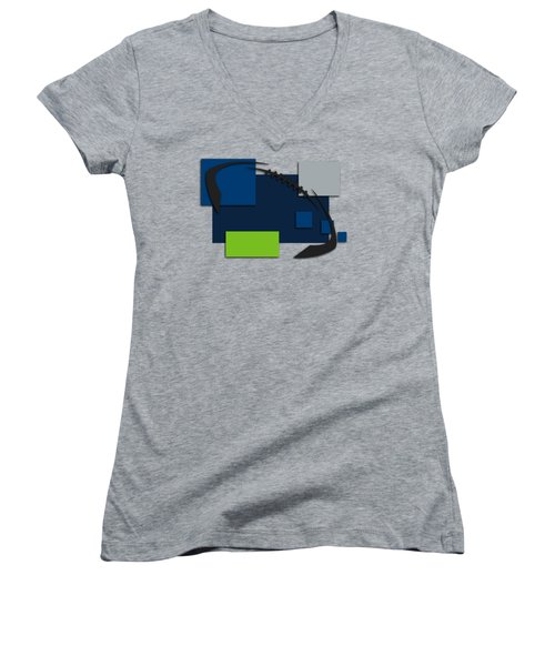 Seattle Seahawks Abstract Shirt Women's V-Neck T-Shirt (Junior Cut) by Joe Hamilton