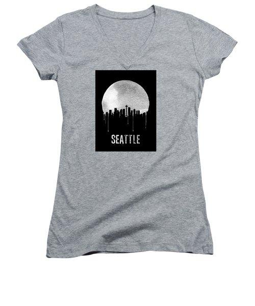 Seattle Skyline Black Women's V-Neck T-Shirt (Junior Cut) by Naxart Studio
