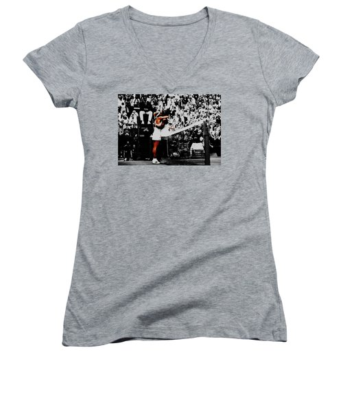 Serena Williams And Angelique Kerber Women's V-Neck T-Shirt (Junior Cut) by Brian Reaves