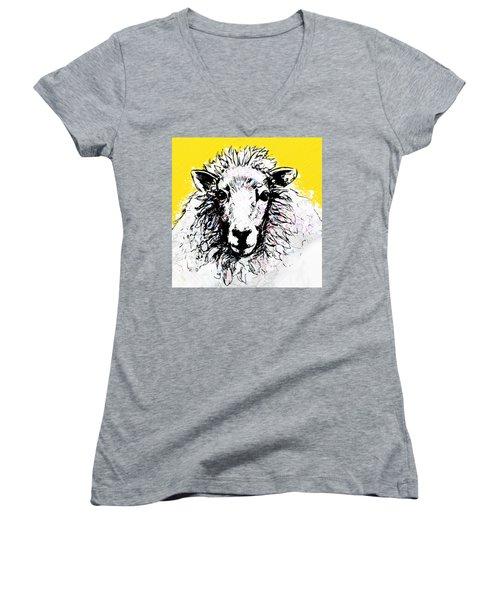 Sheep Women's V-Neck T-Shirt (Junior Cut) by Tiffany Hunter