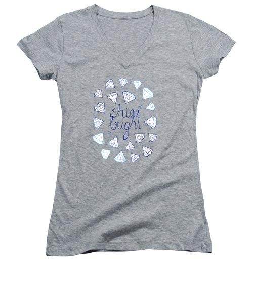 Shine Bright Women's V-Neck T-Shirt (Junior Cut) by Barlena