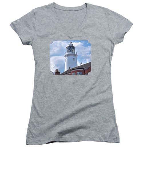 Sky High - Southwold Lighthouse Women's V-Neck T-Shirt (Junior Cut) by Gill Billington
